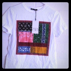 Zara white tshirts with bandana graphics in the fe